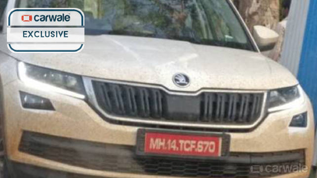 Skoda Kodiaq front fascia spy shot India