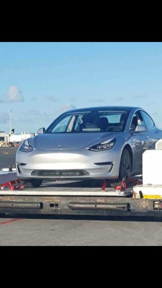 Tesla Model 3 front three quarters left side New Zealand spy shot