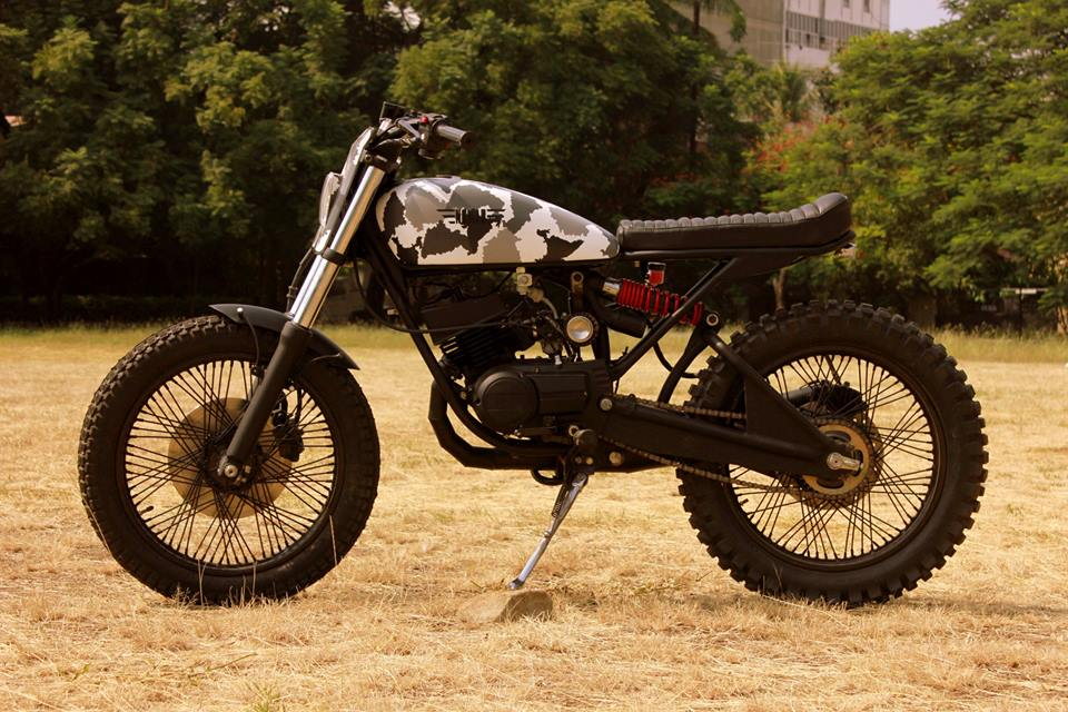 Yamaha RX100 Scrambler Yambam by Nomad Motorcycles side left