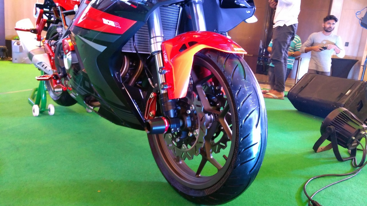 DSK Benelli 302R front wheel Indian launch