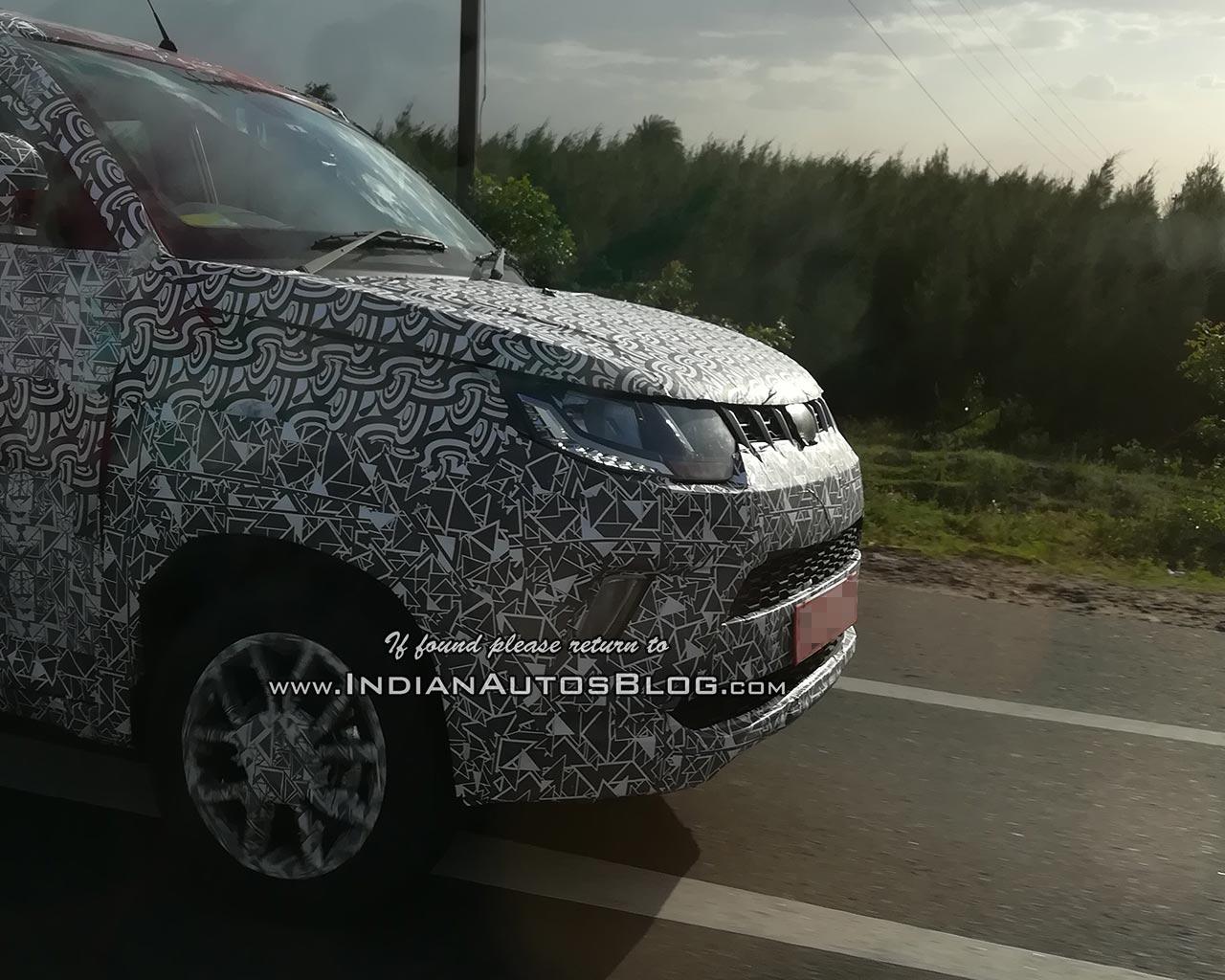 Mahindra KUV100 Facelift Spy Shots Nose