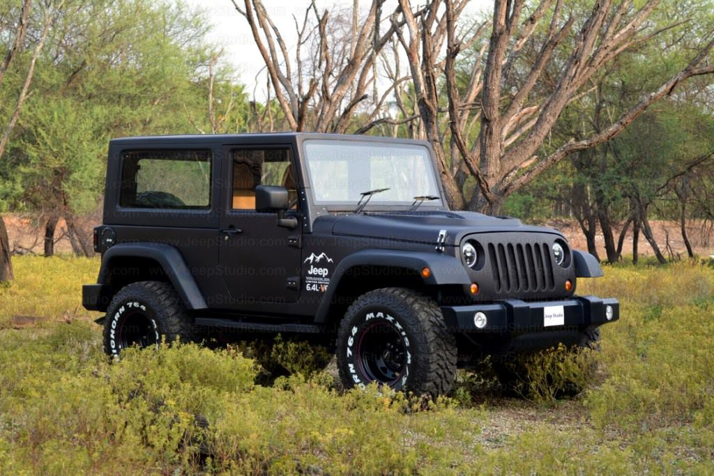 Mahindra Thar to Jeep Wrangler Conversion by Jeep Studio Right Front Three Quarters