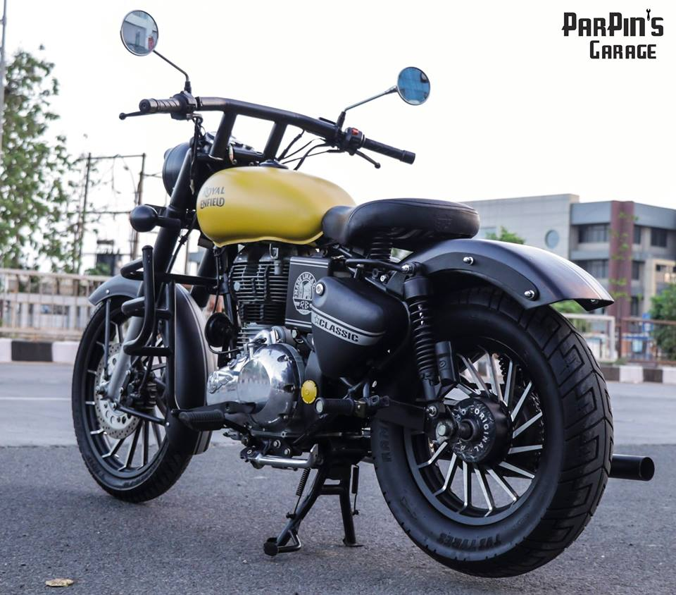 Royal Enfield Classic 350 in Matte Yellow by ParPin's Garage rear three quarter cover