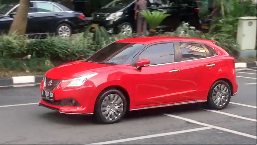 Suzuki Baleno Spotted in Indonesia Front Left Three Quarters Fire Red