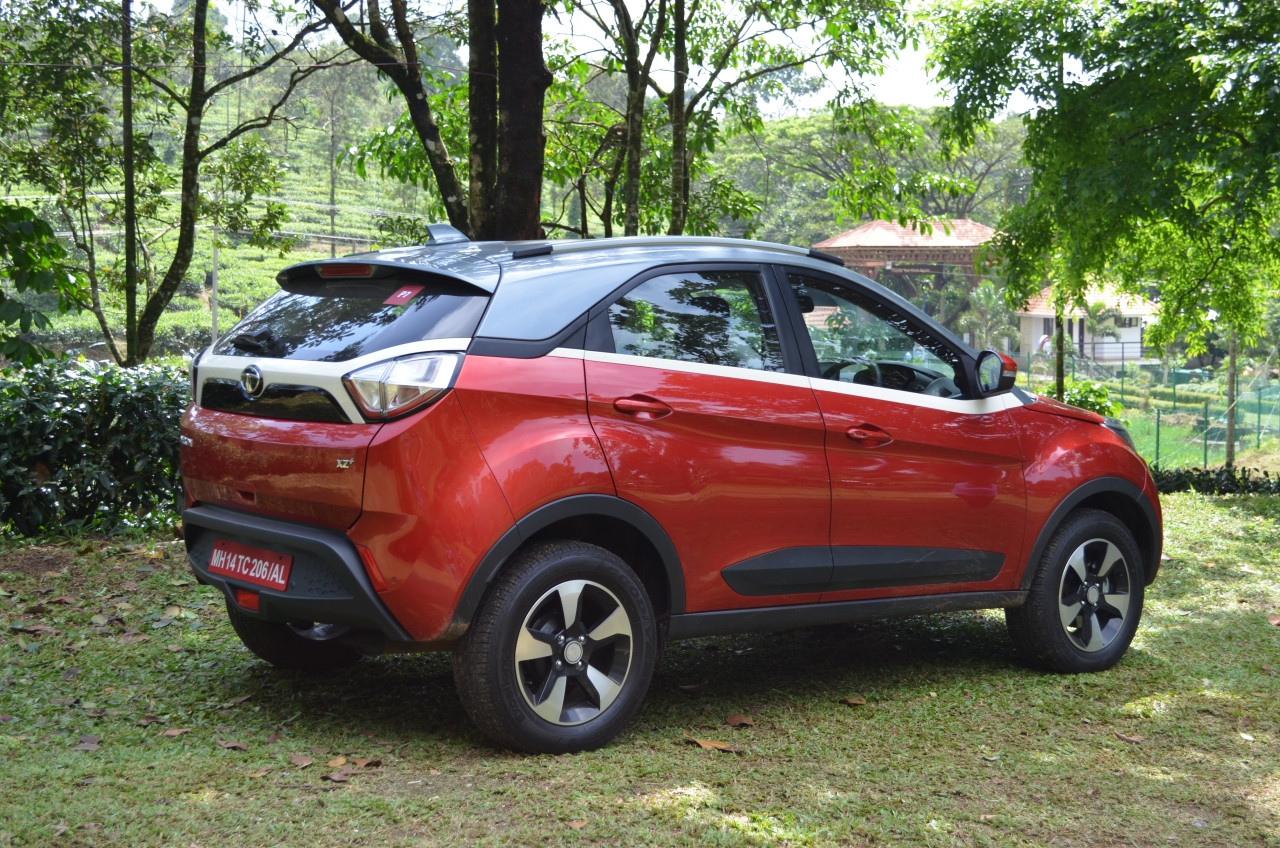 Tata Nexon Review Test Drive Rear Three Quarters