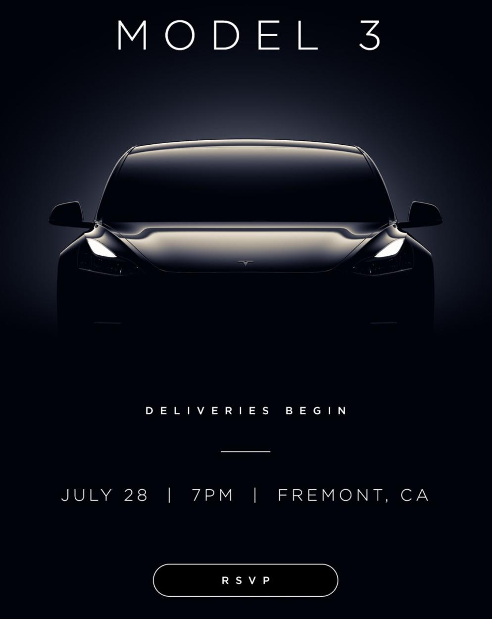 Tesla Model 3 delivery event invite