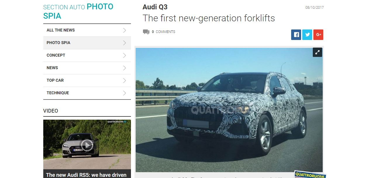 2018 Audi Q3 front three quarters spy shot