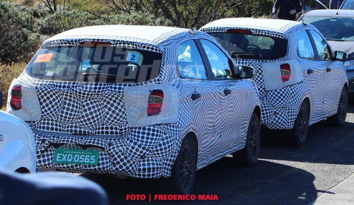 2018 Ford figo facelift spied in brazil rear three quarters