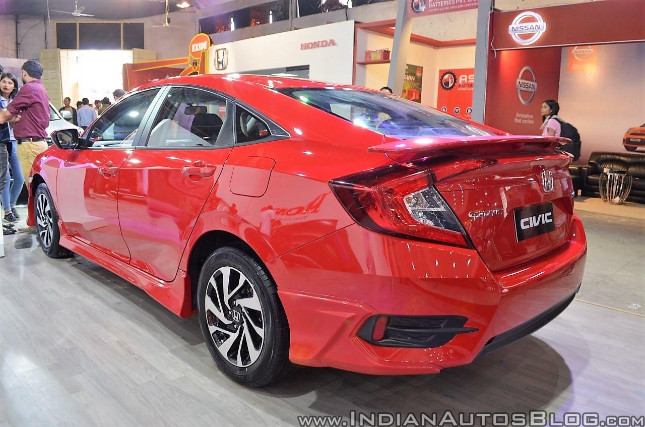 Honda Civic sedan rear three quarters at Nepal Auto Show 2017