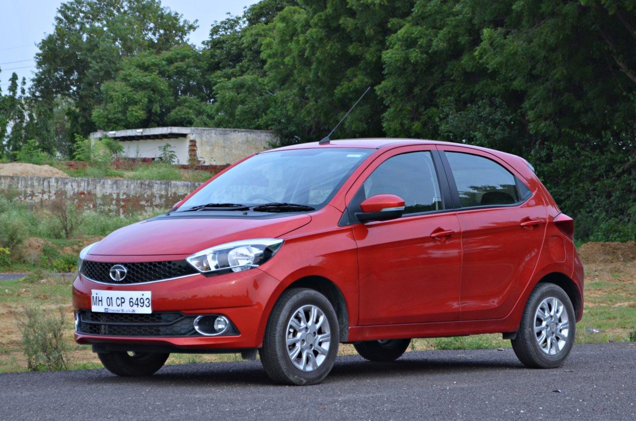 Tata Tiago AMT test drive review left front three quarters
