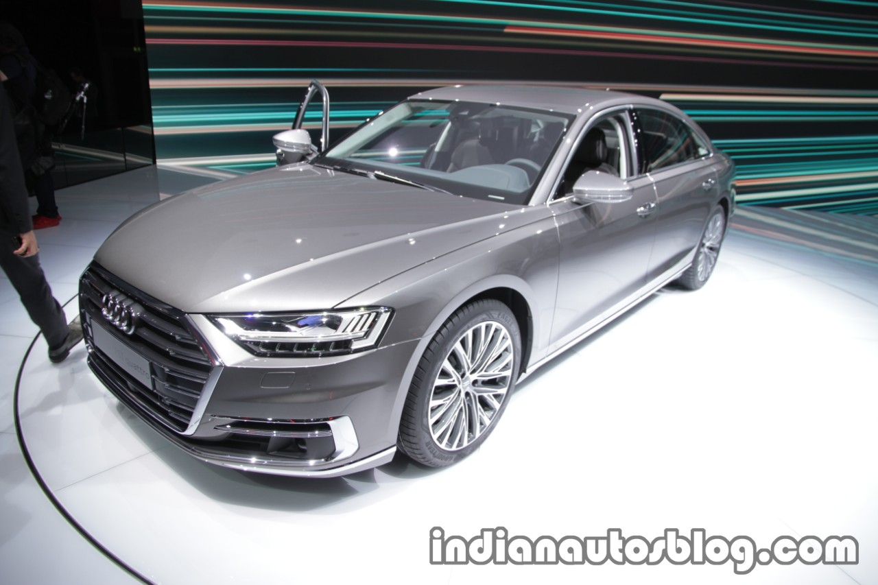 2018 Audi A8 fronr three quarters left side at the IAA 2017