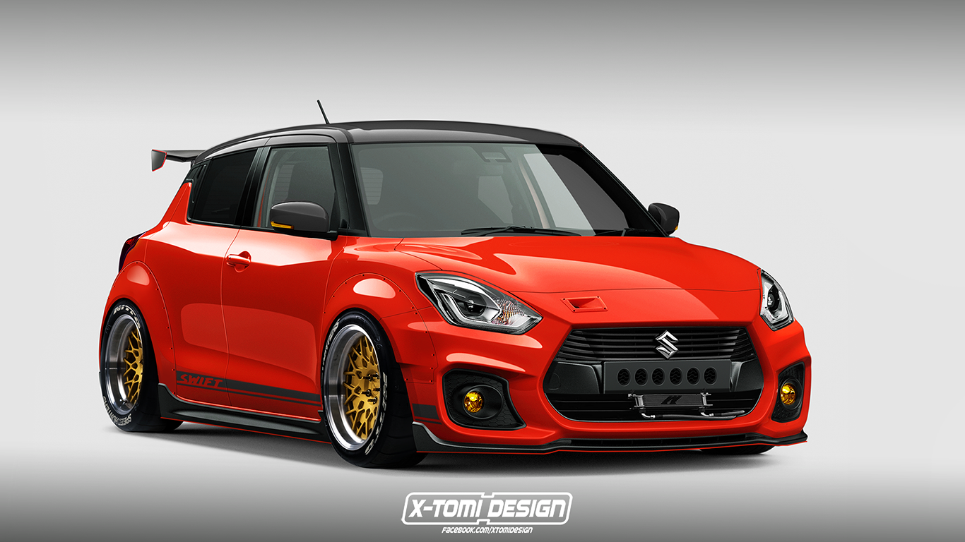 how about a 39 slammed 39 widebody suzuki swift sport modjob. Black Bedroom Furniture Sets. Home Design Ideas