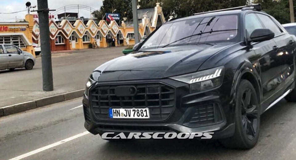 Audi Q8 black test mule exterior revealed