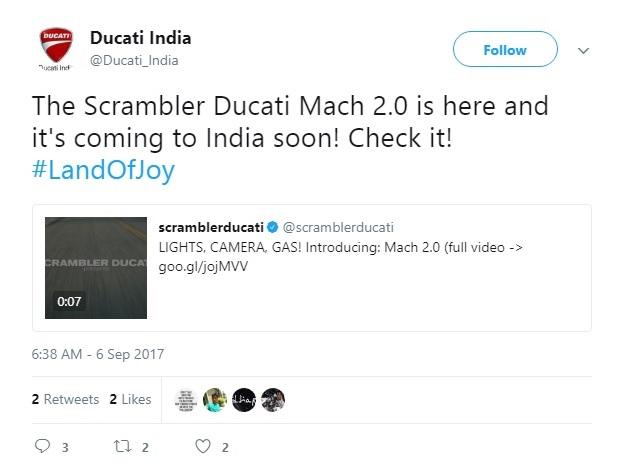 Ducati Scrambler Mach 2.0 tweet