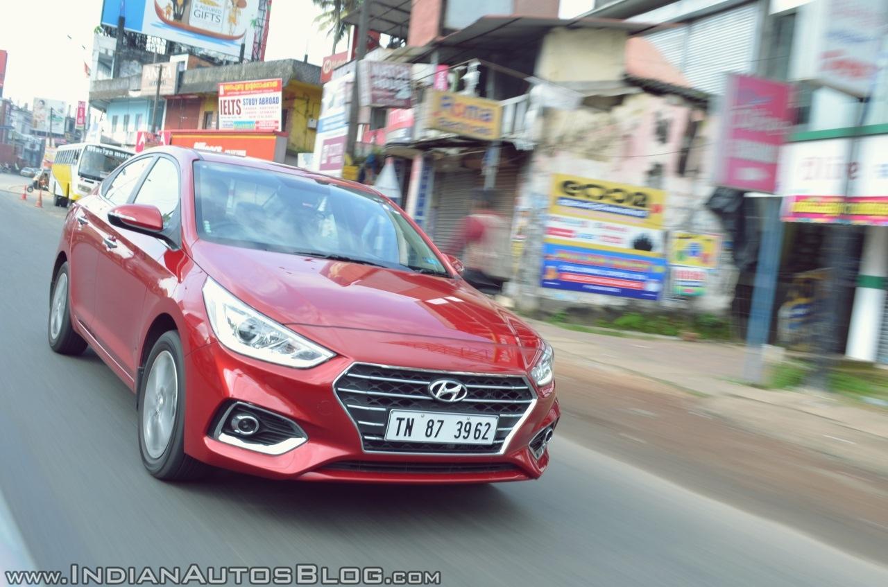 Hyundai Verna 2017 test drive review front tracking shot