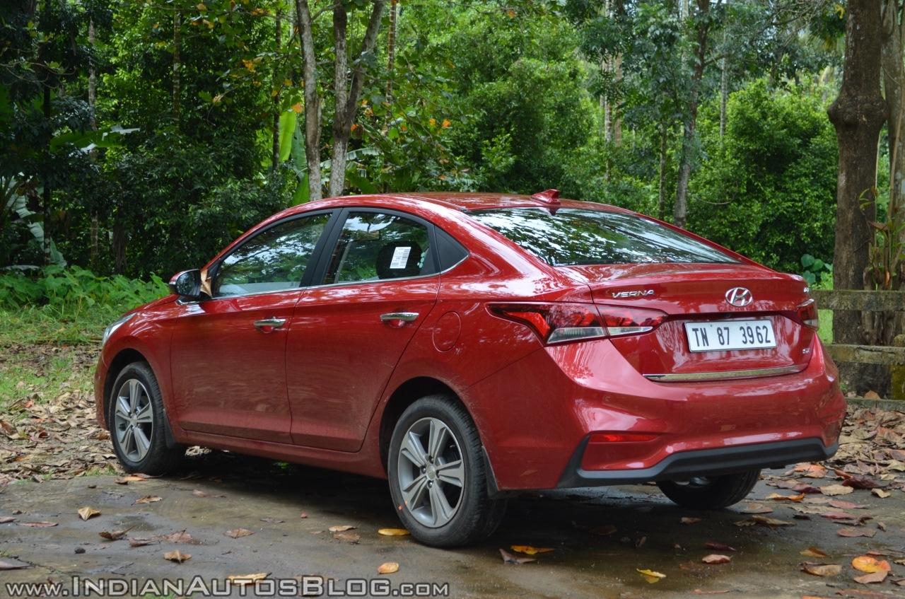 Hyundai Verna 2017 test drive review left rear three quarters