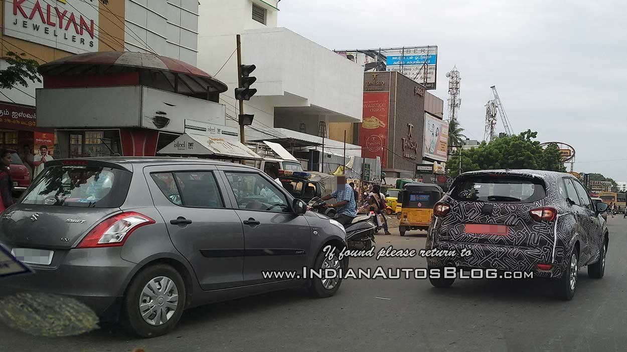 Indian-spec Renault Captur rear three quarters spy shot