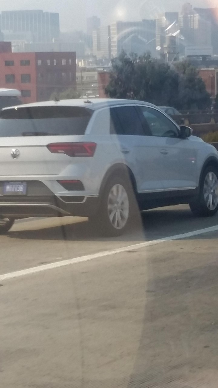 VW T-Roc rear three quarters spy shot San Francisco, USA