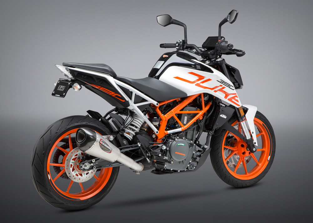 Yoshimura exhaust for 2017 KTM 390 Duke rear right quarter