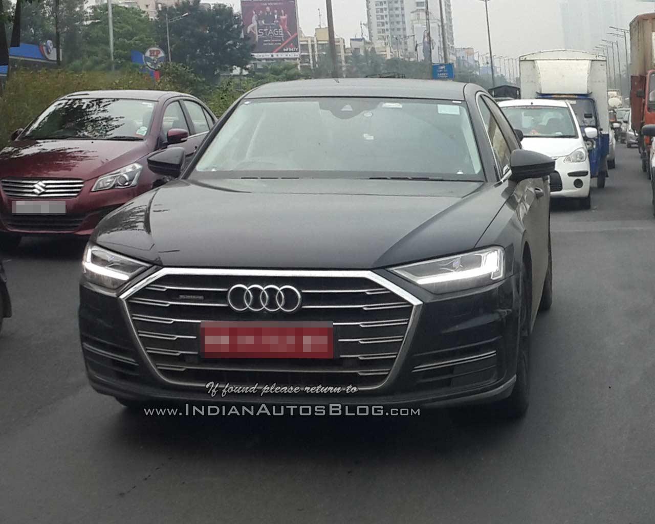 2018 Audi A8 front three quarters India spy shot