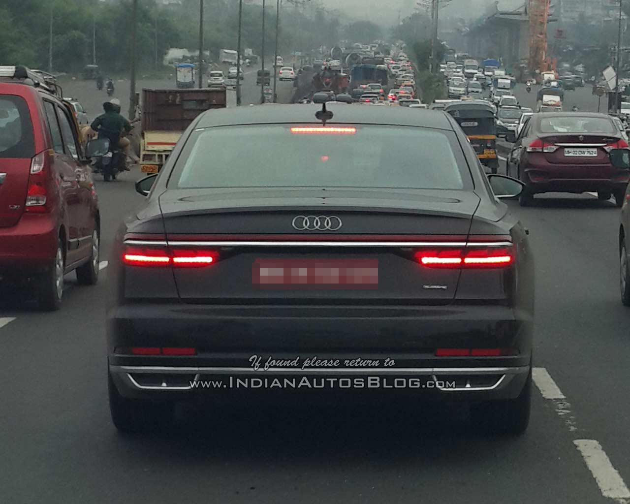 2018 Audi A8 rear spy shot