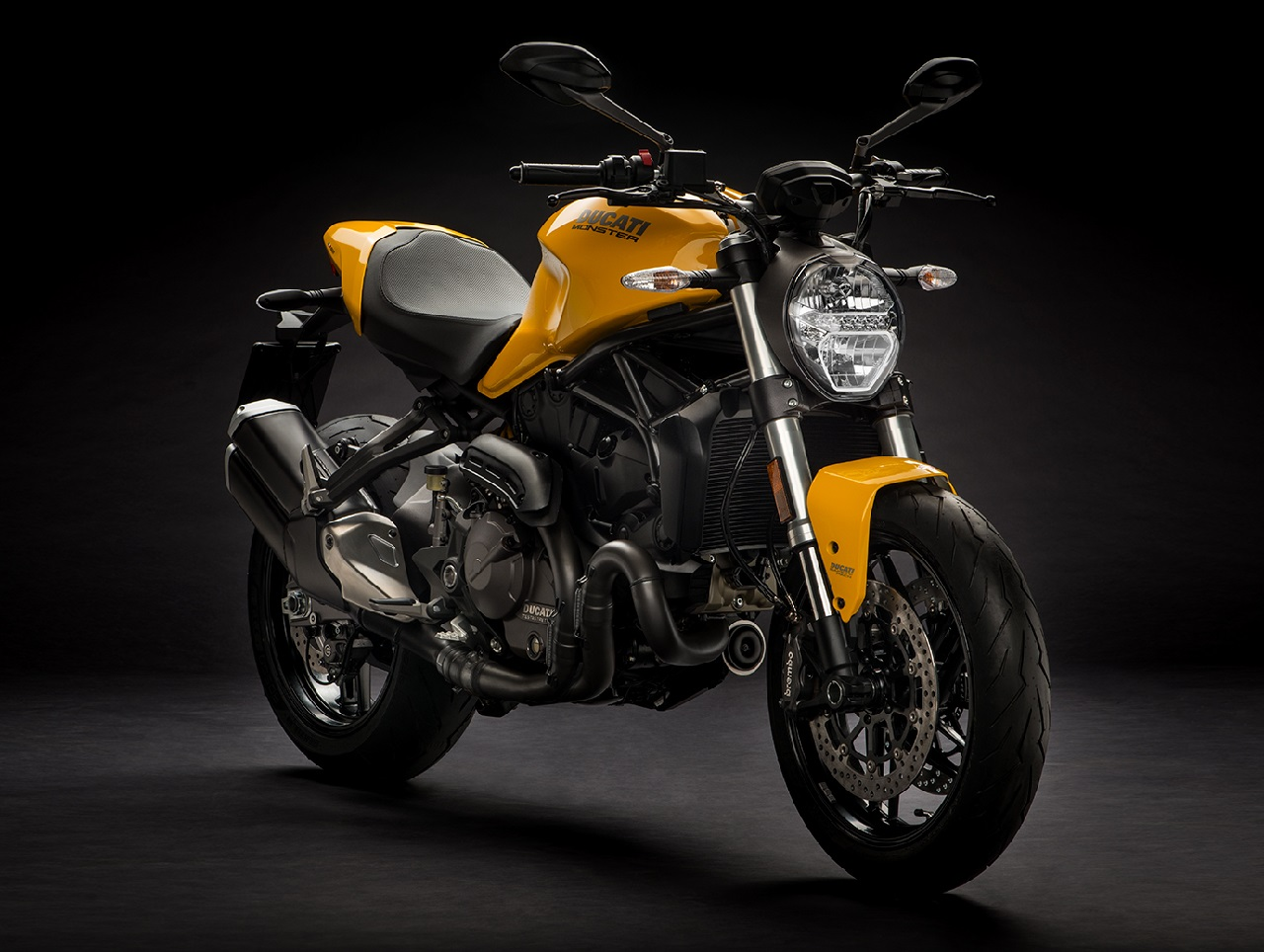 2018 Ducati Monster 821 Yellow press front right quarter