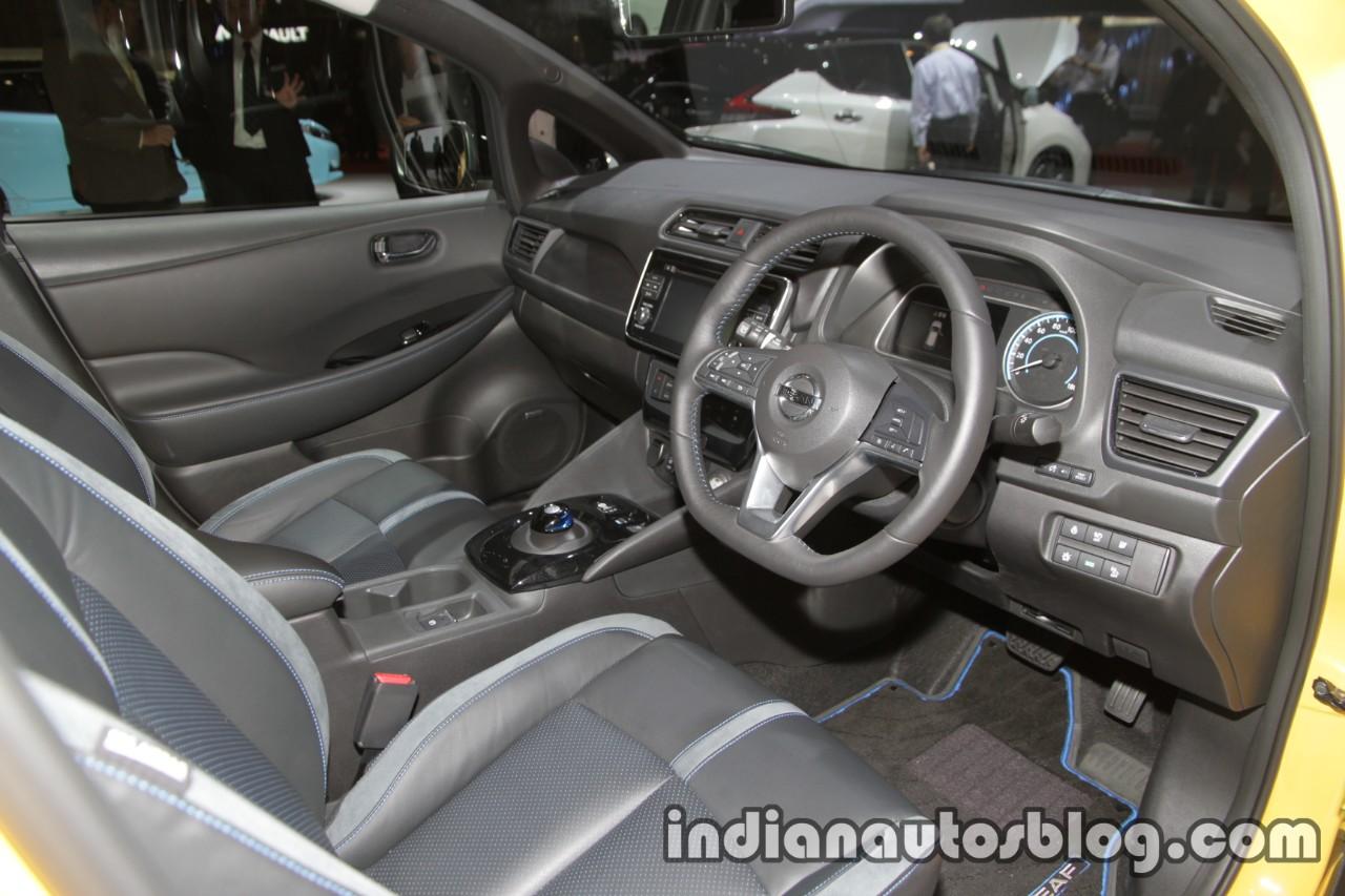 2018 Nissan Leaf interior dashboard steering wheel at the Tokyo Motor Show