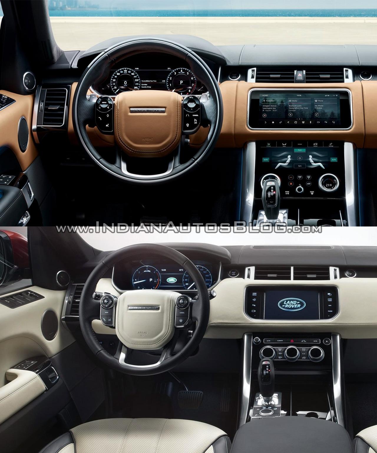2018 Range Rover Sport vs. 2014 Range Rover Sport dashboard driver side