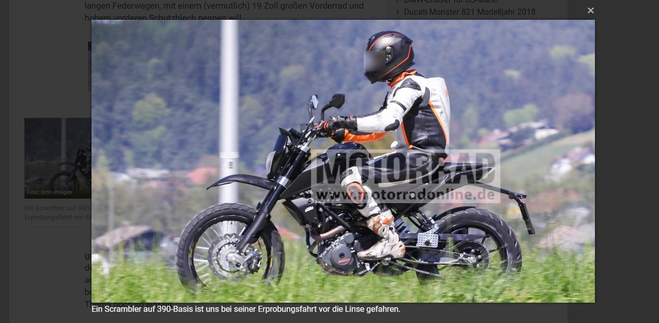 KTM 390 Duke Scrambler variant spied left side