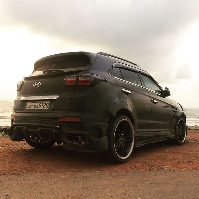 Modified Hyundai Creta Black Devil rear three quarters