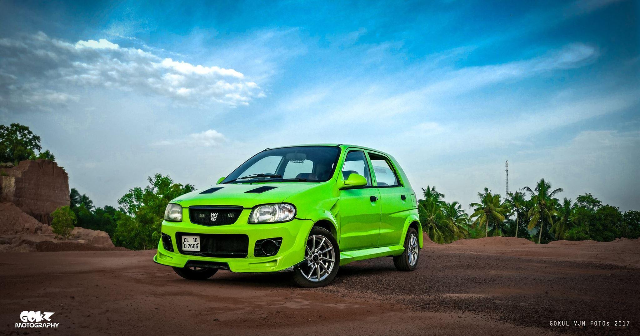 Modified Maruti Alto green front three quarters