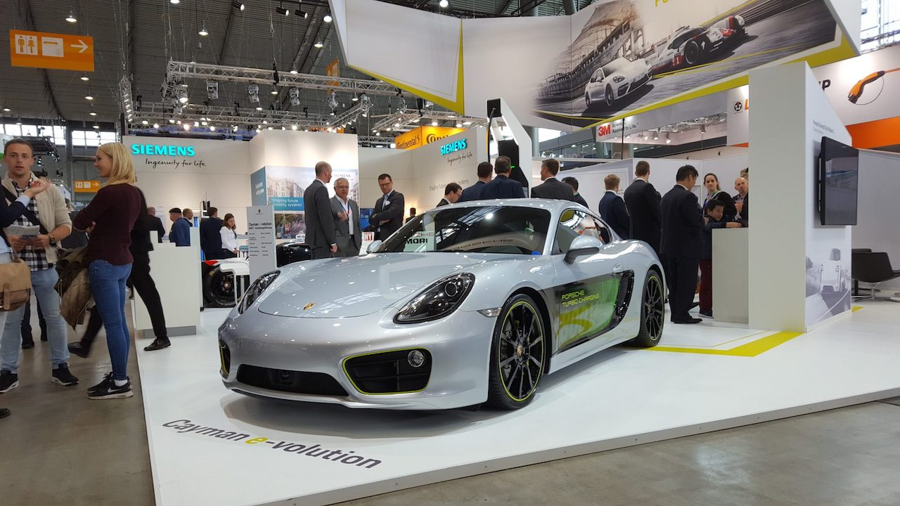 Porsche Cayman e-volution front three quarters