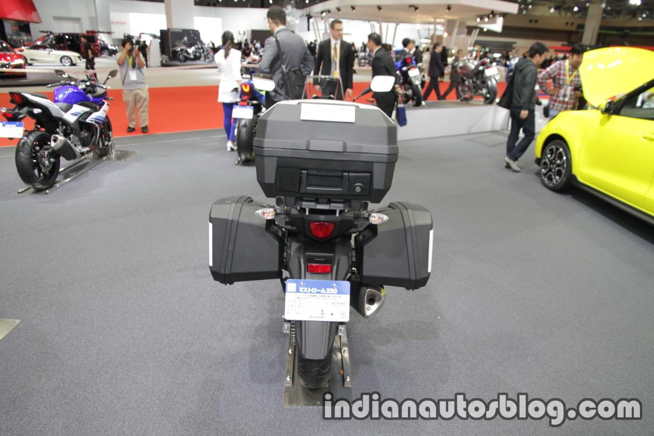 Suzuki V-Strom 250 rear luggage box at 2017 Tokyo Motor Show