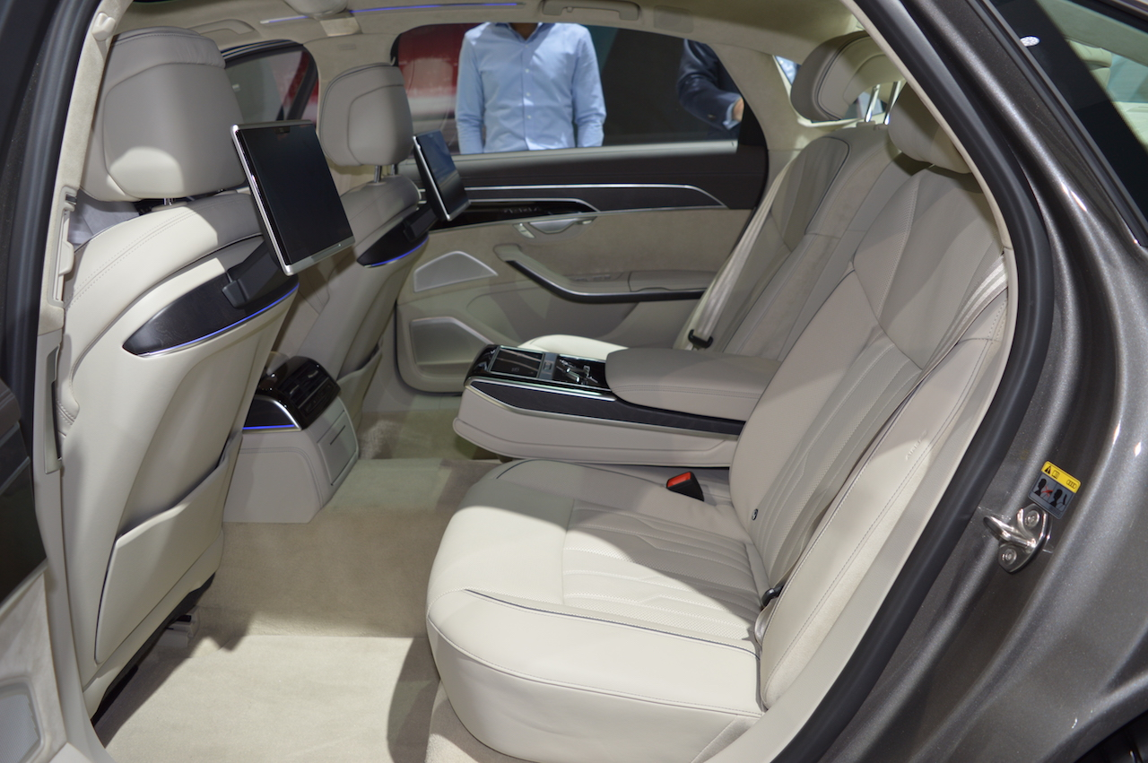 2018 Audi A8 L rear seats at 2017 Dubai Motor Show
