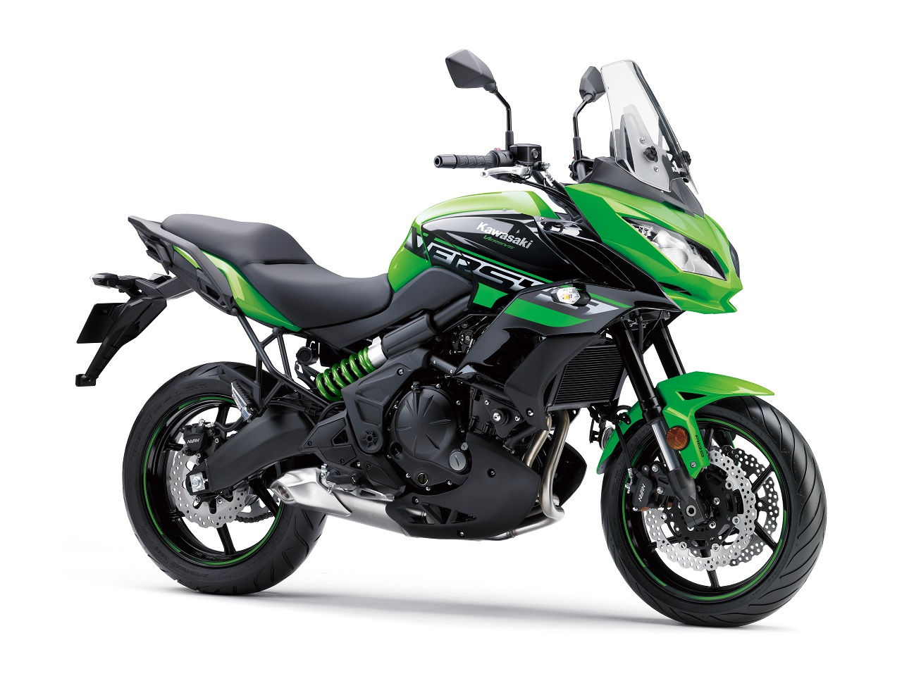 2018 Kawasaki Versys 650 Green press shot front right quarter