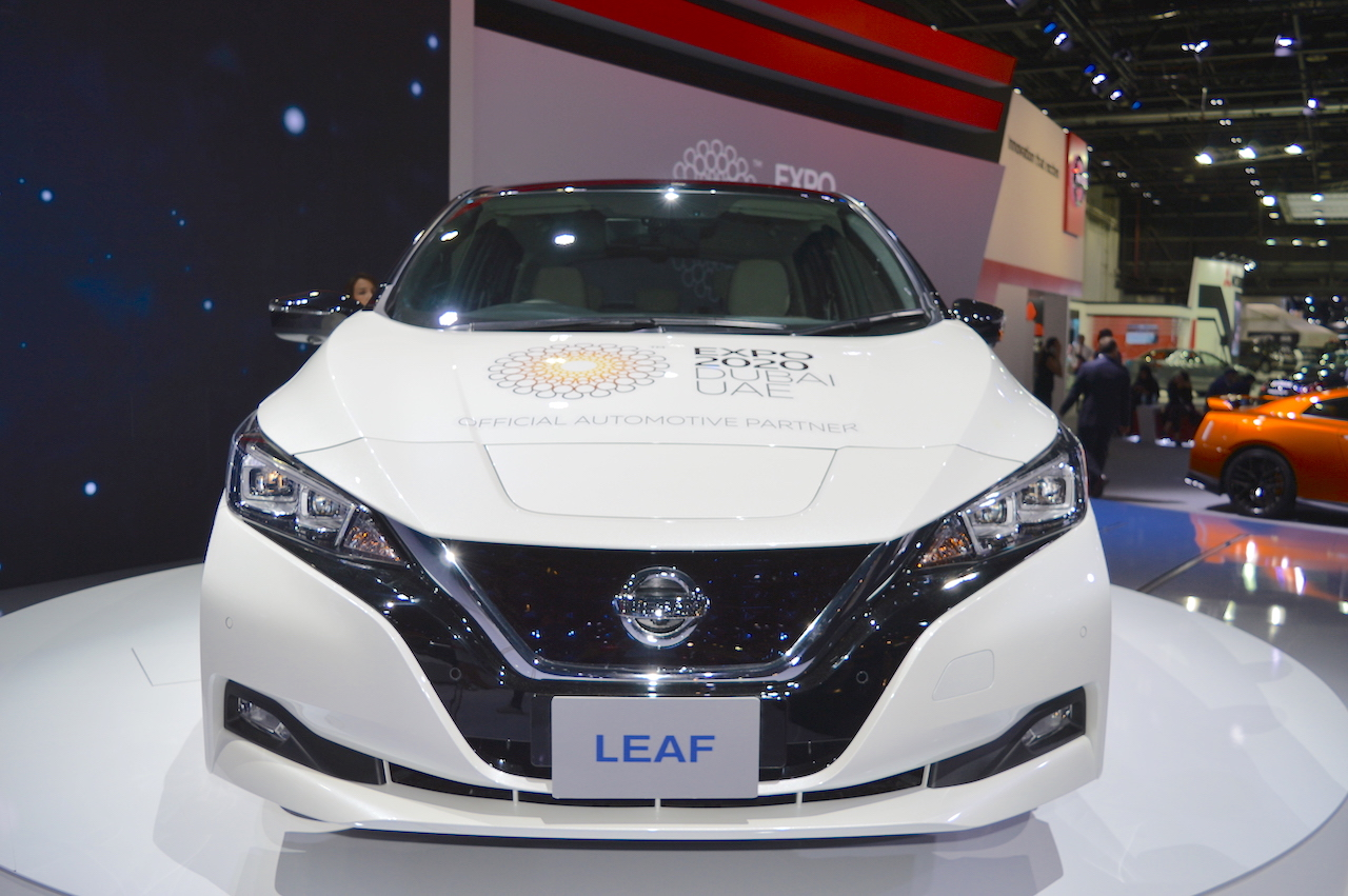 2018 Nissan Leaf front at the 2017 Dubai Motor Show