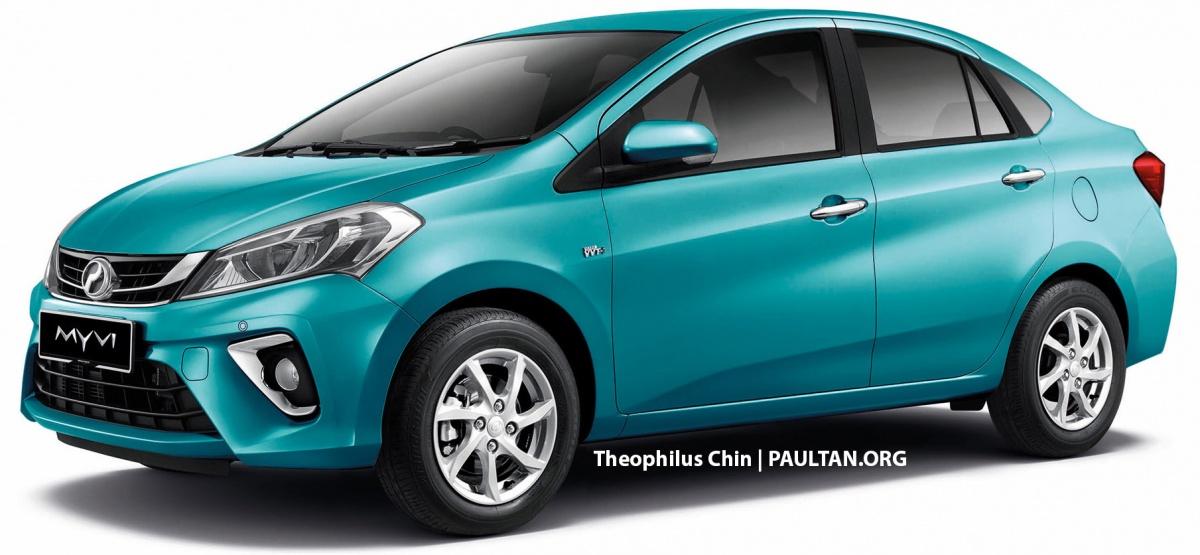 2018 Perodua Myvi sedan rendering front three quarters