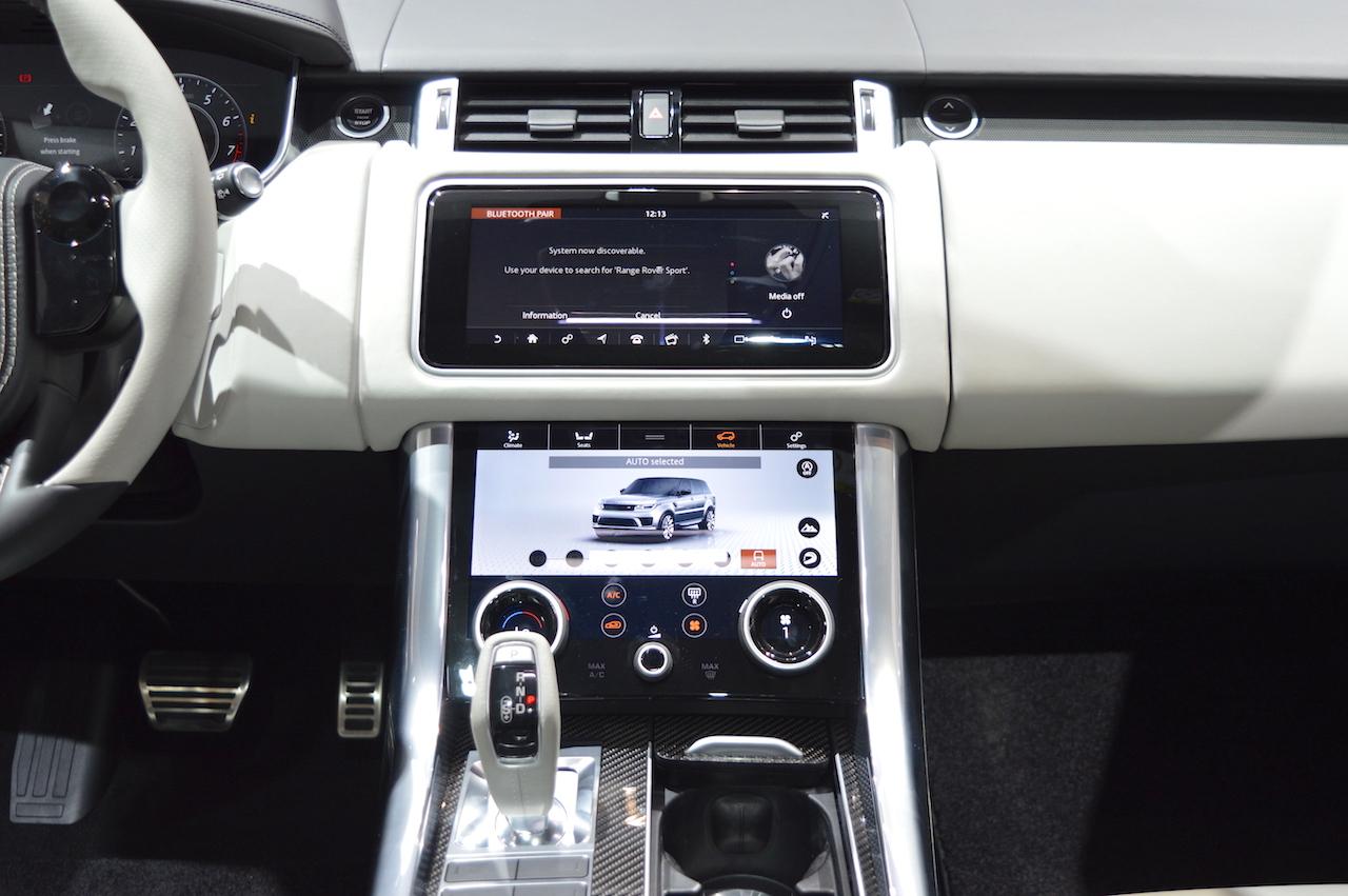 2018 Range Rover Sport SVR centre console at 2017 Dubai Motor Show