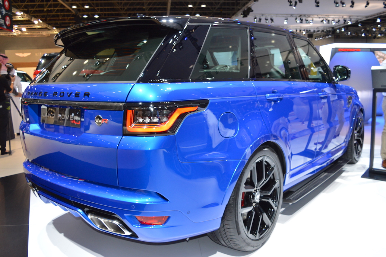 2018 Range Rover Sport SVR rear three quarters right side at 2017 Dubai Motor Show