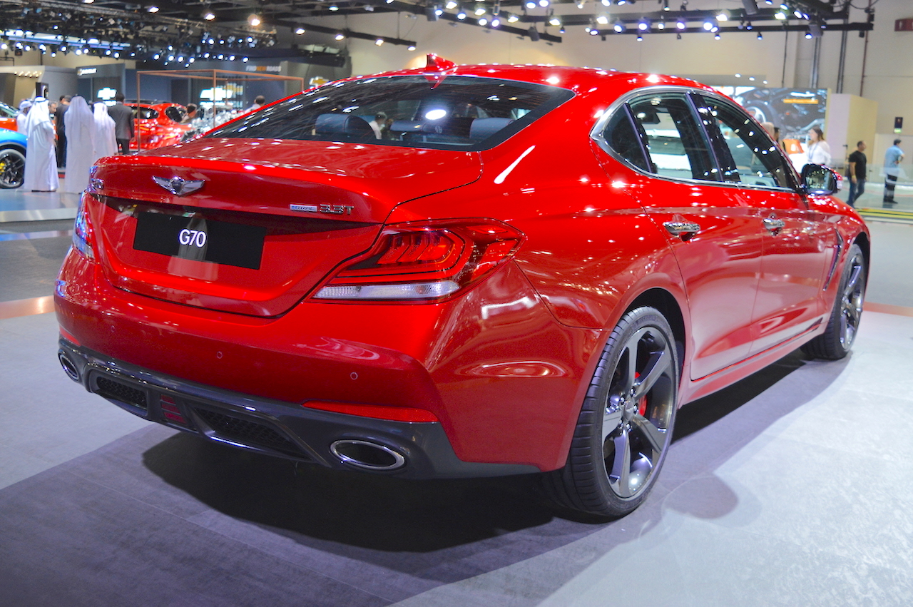 Genesis G70 with Sport Package rear three quarters at 2017 Dubai Motor Show