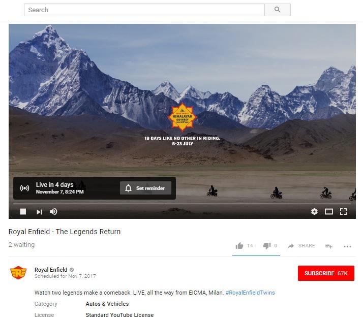 Royal Enfield 750 2017 EICMA Livestream screenshot