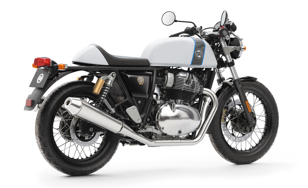 Royal Enfield Continental GT 650 Twin White press shot rear right quarter