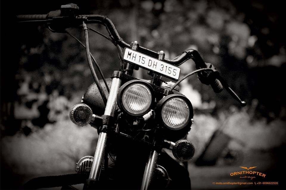 Royal Enfield Electra 350 Charcoal by Ornithopter headlights