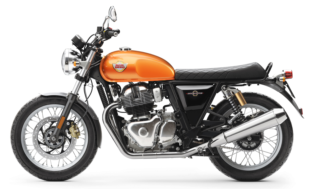 Royal Enfield Interceptor INT 650 Twin Orange Press shot left side