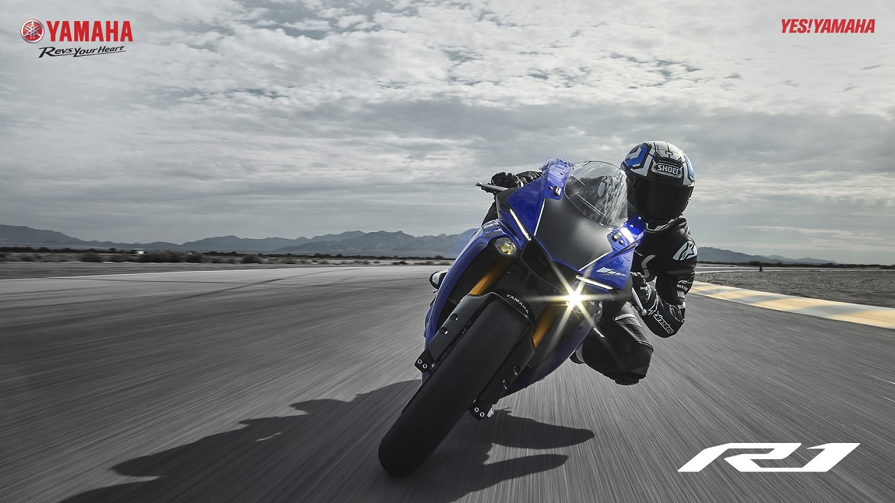 2018 Yamaha YZF-R1 Blue Press Action Front