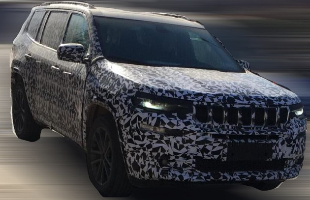 Jeep Grand Commander (Jeep 7-seat SUV) front three quarters right side spy shot
