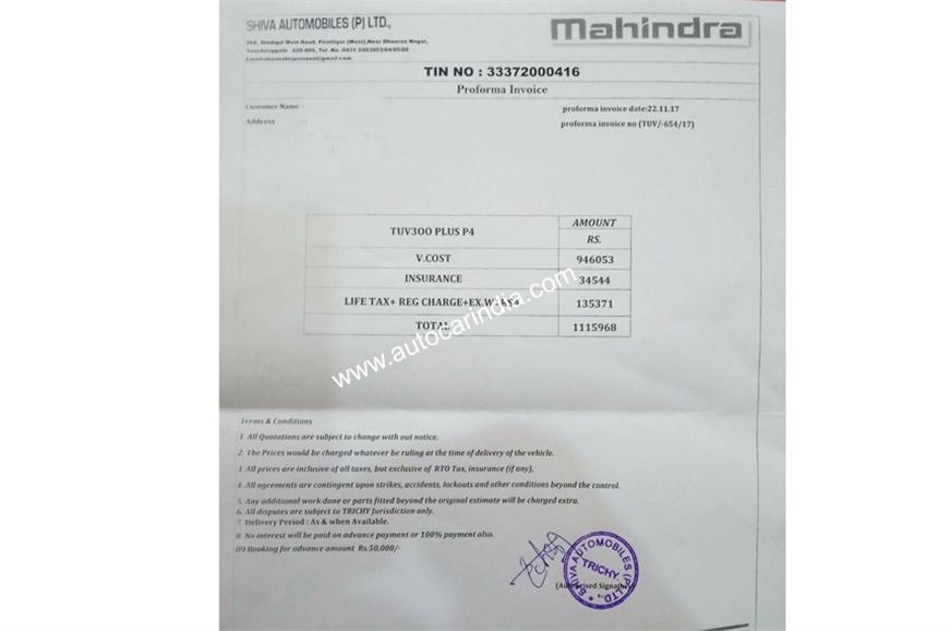 Mahindra TUV300 Plus P4 Proforma Invoice