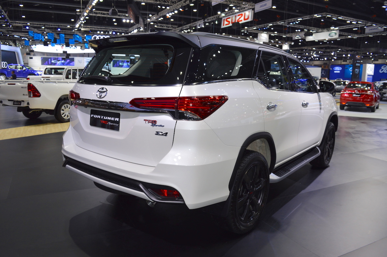 Toyota Fortuner TRD Sportivo rear three quarters at 2017 Thai Motor Expo