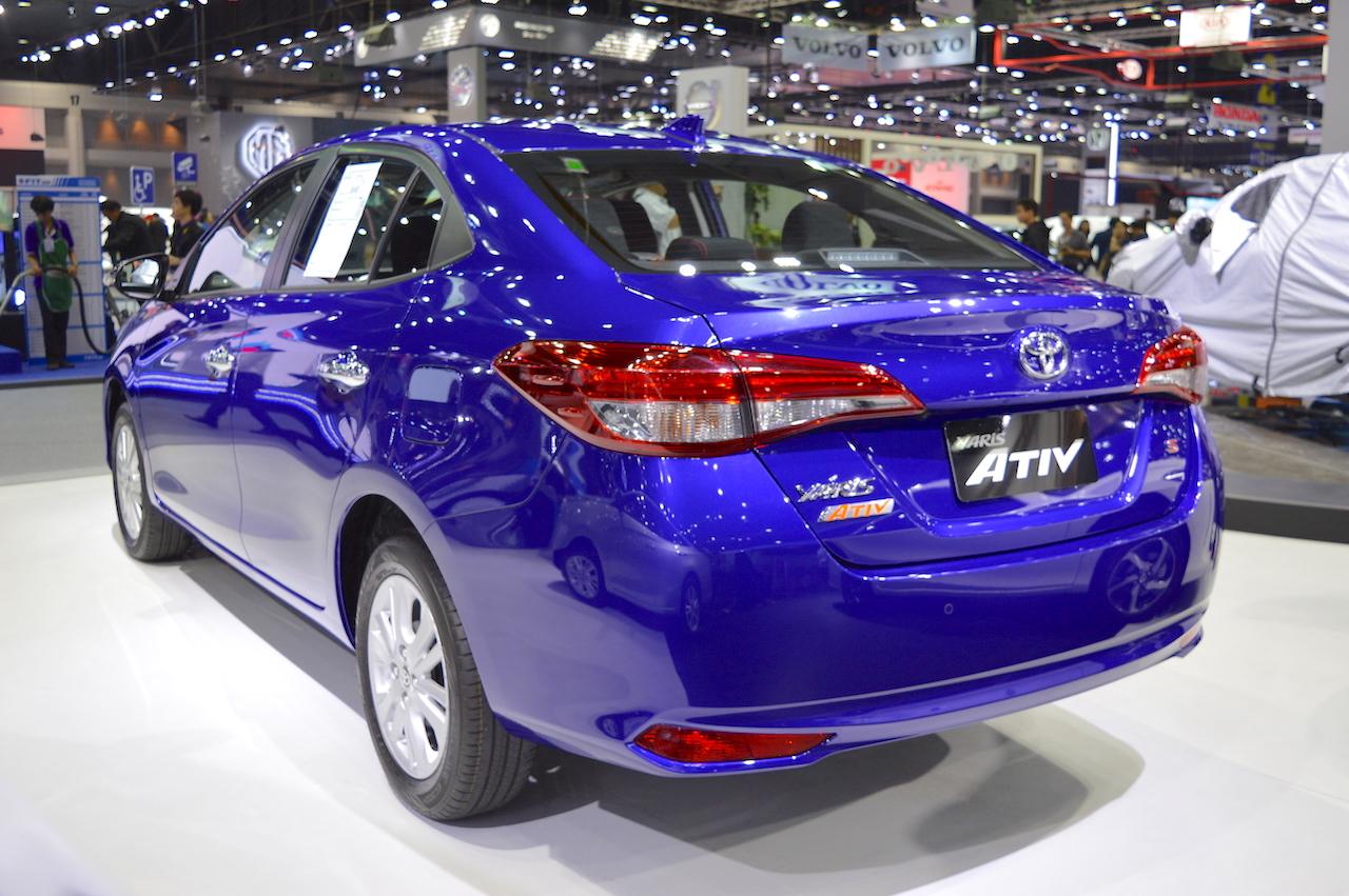 Toyota Yaris Ativ S rear three quarters left side at 2017 Thai Motor Expo