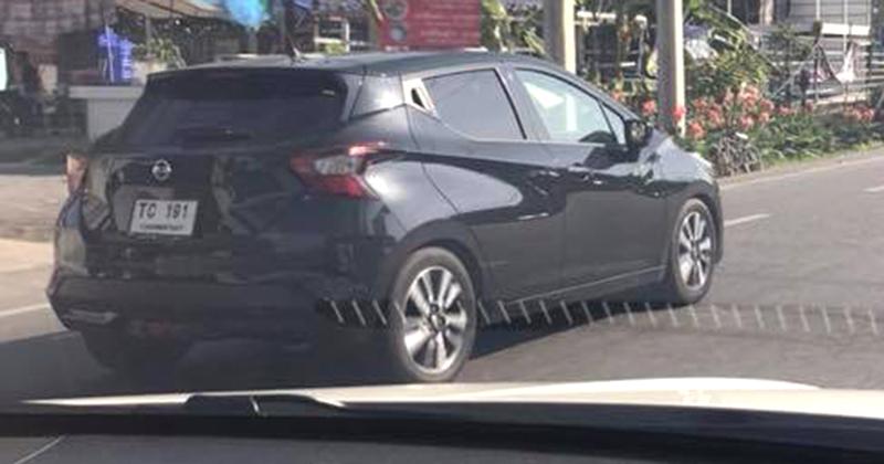 Fifth-gen Nissan Micra rear three quarters Thailand spy shot